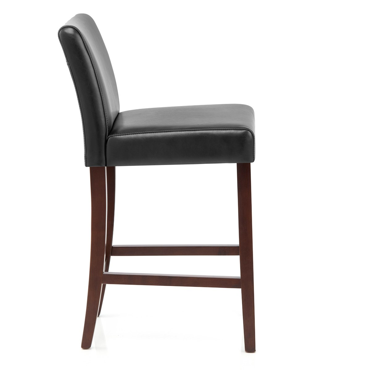 walnut wood black leather breakfast bar stool em 1z 1 ebay
