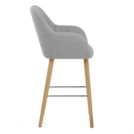 Rio Wooden Stool Grey Fabric