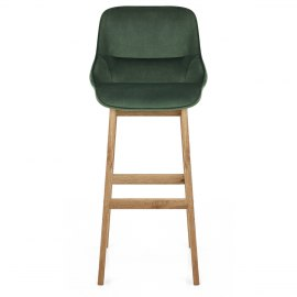 Miami Wooden Stool Green Velvet