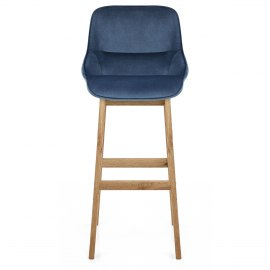 Miami Wooden Stool Blue Velvet