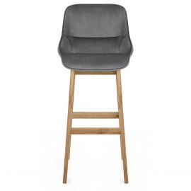 Miami Wooden Stool Grey Velvet
