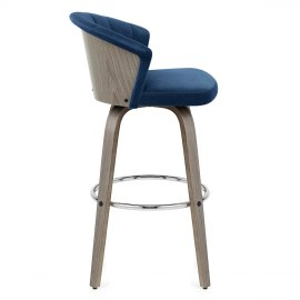 Concerto Wooden Stool Blue Velvet