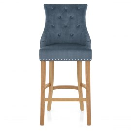 Ascot Oak Stool Blue Fabric