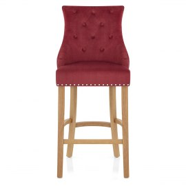 Ascot Oak Stool Red Fabric