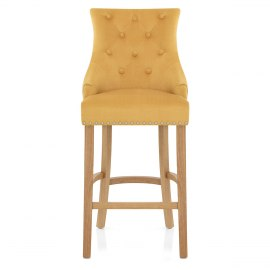Ascot Oak Stool Mustard Fabric