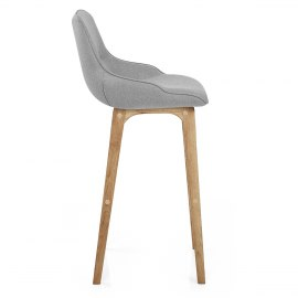 Miami Wooden Stool Grey Fabric