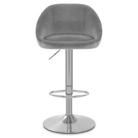 Decco Brushed Stool Grey Velvet