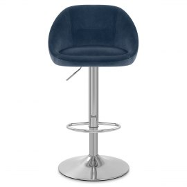 Decco Brushed Stool Blue Velvet