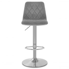Melody Brushed Stool Grey Velvet