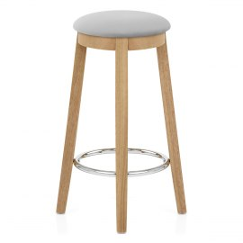 Ikon Kitchen Stool Oak & Grey Velvet