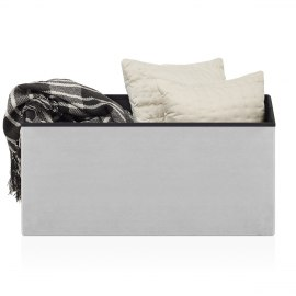 Tiffany Foldable Ottoman Grey Velvet