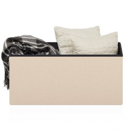 Tiffany Foldable Ottoman Cream Fabric