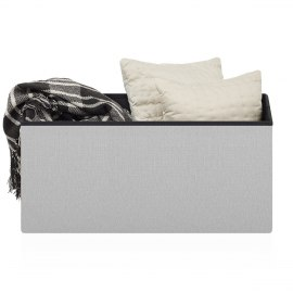 Tiffany Foldable Ottoman Grey Fabric