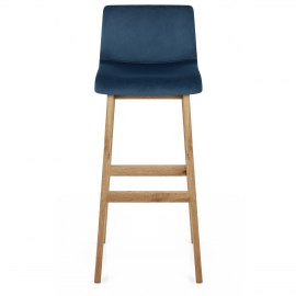 Drift Oak & Blue Velvet Stool