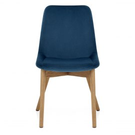 Kobe Dining Chair Oak & Blue Velvet