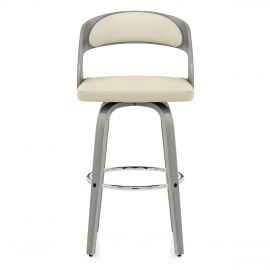 Alicia Grey Wooden Stool Cream