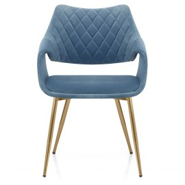 Fairfield Gold Chair Blue Velvet