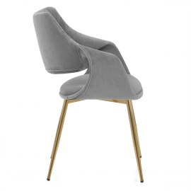Fairfield Gold Chair Grey Velvet