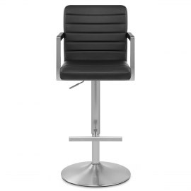 Como Brushed Steel Stool Black