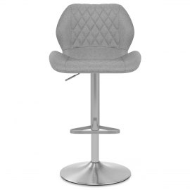 Couture Brushed Steel Stool Grey Fabric