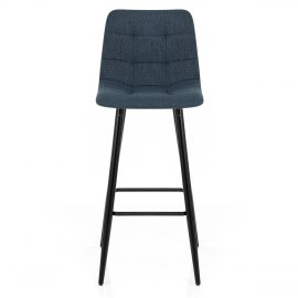 Croft High Bar Stool Blue Fabric