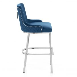 Blush Bar Stool Blue Velvet