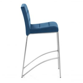 Stella Brushed Stool Blue Velvet