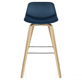 Reef Wooden Stool Blue Velvet