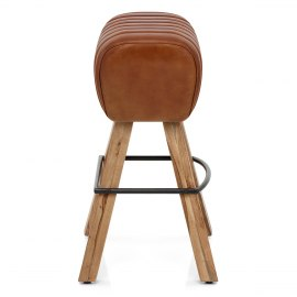 Pommel Stool Antique Brown Leather