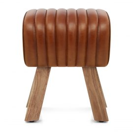 Mini Pommel Stool Antique Brown Leather