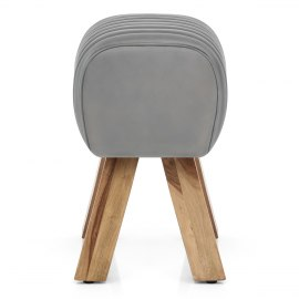 Mini Pommel Stool Antique Grey Leather