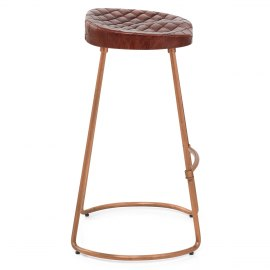 Foundry Copper Stool Brown Leather