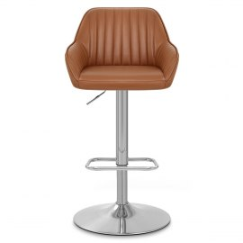 Tokyo Real Leather Brushed Stool Brown