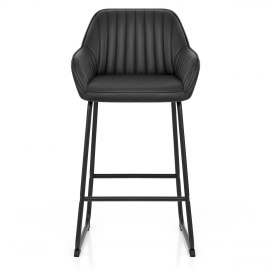 Kanto Real Leather Bar Stool Black