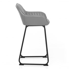 Kanto Real Leather Bar Stool Grey