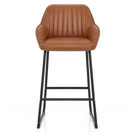 Kanto Real Leather Bar Stool Brown