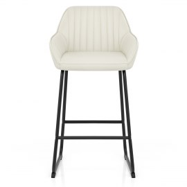 Kanto Real Leather Bar Stool Cream