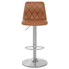 Melody Real Leather Brushed Stool Brown