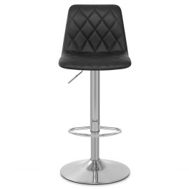 Melody Real Leather Brushed Stool Black
