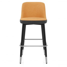 Hudson Stool Charcoal & Orange Fabric