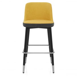 Hudson Stool Charcoal & Yellow Fabric
