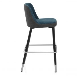 Hudson Stool Charcoal & Blue Fabric