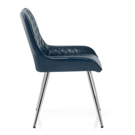 Lincoln Chrome Chair Antique Blue