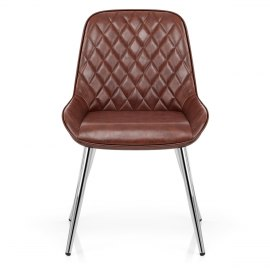 Lincoln Chrome Chair Antique Brown