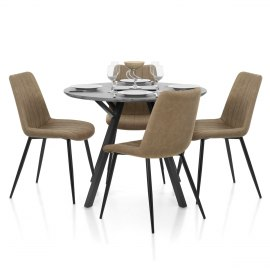 Sussex Dining Set Concrete & Brown