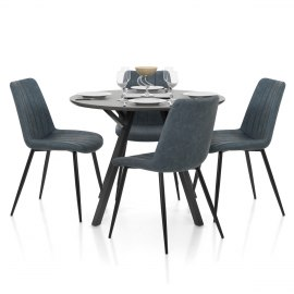 Sussex Dining Set Grey Wood & Blue