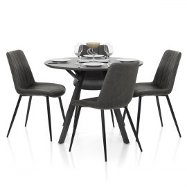 Sussex Dining Set Grey Wood & Charcoal