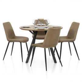 Sussex Dining Set Oak & Brown