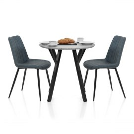 Wessex Dining Set Concrete & Blue