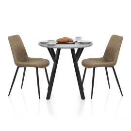 Wessex Dining Set Concrete & Brown